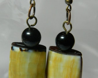 Earrings ceramic beads shell like....Clip on or sterling silver ear wire available free