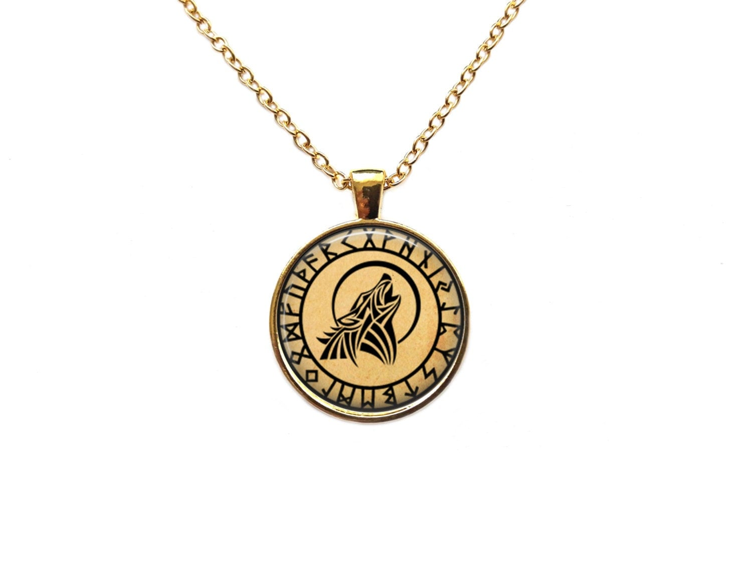 occult rune necklace animal jewelry howling wolf pendant