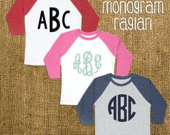 Youth Monogrammed Raglan T-shirt with 3/4 Sleeves