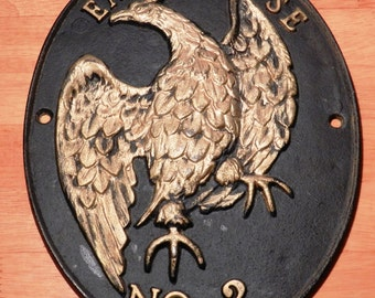 Reproduction Fire Insurance Plaque Featuring Eagle Hose No. 2  Cast Iron    00956