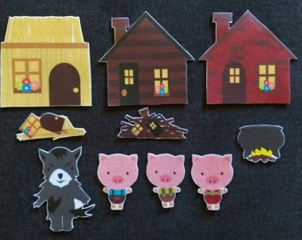 Three Little Pigs  Felt Board Story // Flannel Board // Imagination // Children // Preschool // Nursery School // Felt Set