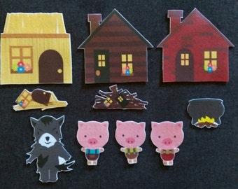 Three Little Pigs  Felt Board Story // Flannel Board // Imagination // Children // Preschool // Nursery School // Felt Set