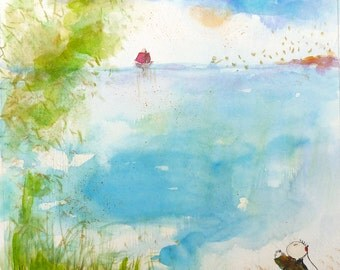 Original Watercolor Painting,Aquarelle Originale,Blue turquoise,little Sailing Boat,Morpho