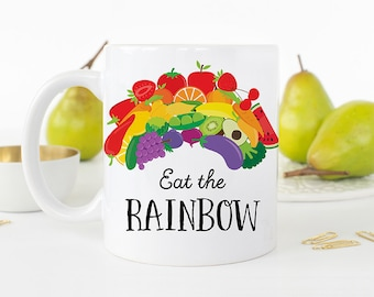 Coffee Mug Eat The Rainbow Coffee Cup - Great Gift for Vegan or Vegetarian - Healthy Eating Mug