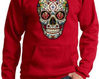 Men's Skull Hoodie Sugar Skull with Roses Hoody WS-16553-PC90H