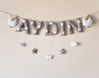 Felt name banner, Sheep nursery decor, personalized gift, felt letters, baby gift, child room decor, baby name garland, custom made banner