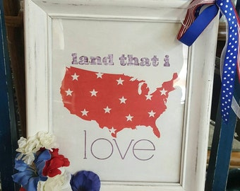 Land That I Love, Red White & Blue, Patriotic Door Hanger, Americana, 4th of July, Decorations, USA, Home Decor, Front Door Wreath, urbcoco