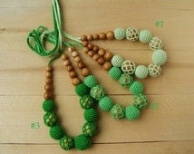 Crochet Teething necklace Nursing necklace Breastfeeding mom Babywearing necklace Wooden beads Organic jewelry Toddler gift Baby sling toy