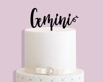Gemini Star Sign Birthday Cake Topper