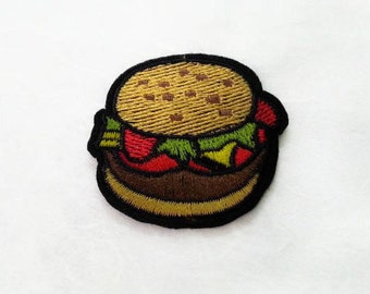 Burger Iron on Patch(M2) - Hamburger Applique Embroidered Iron on Patch- Size 5.0x4.8 cm