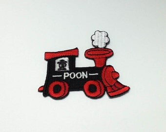 Train, Locomotive Iron on patch (M) 6.4 x 5.8 cm - Car Applique Embroidered Iron on Patch