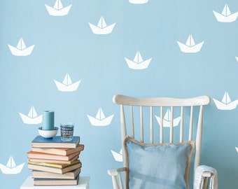 Nautical wall decal, Nautical decal, Paper boat decal, paper boat, boat decal, Boy nursery, nautical wall decal, sailboat decal #090