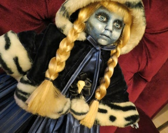 OOAK-Gothic-Zombie-Undead-Vampire-Creepy-Hand-Painted-Porcelain-Doll-Frostine