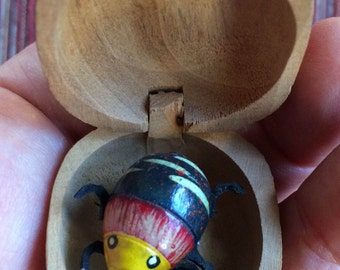 Vintage Bobble Toy,Collectable Bobble Bug,Moving Bug in a Nut,India Toy,Bug Toy,Insect Collectible,Insect Toy,Bug Collectible,Kinetic Bug