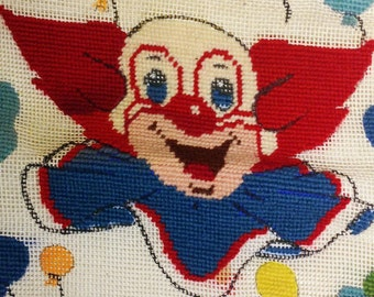 Clown Art Bozo Vintage DIY Art Circus Kids Show Needlepoint Wall Hanging Kids Art Half-Finished Kitsch 50s TV Character Circus Wall Hanging