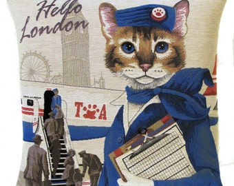 Flight Attendant Gift - Cat Pillow Cover - TWA airlines gift - Cat Lover Gift - London Gift - PC-5607