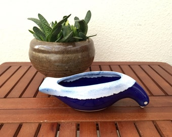 vintage blue and white dove bird ceramic glazed  figurine container pot bowl