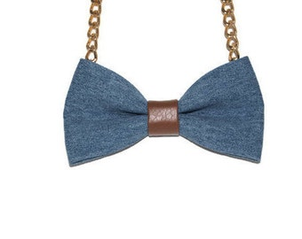 Blue Bow Tie Necklace - Bow Jewelry, Accessories, Statement Necklace - Easy No Tie Bow Tie - Great for Office, Wedding - Boyfriend Jeans