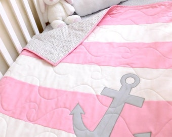 Nautical Baby Quilt And Matching Pillow Pink And Gray Nursery
