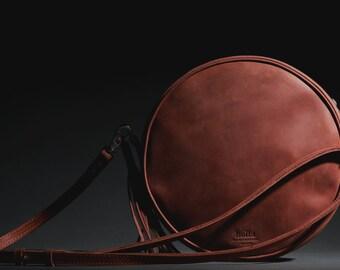 Leather Cross Body Bag, Round Leather Bag, Small Handbag, Crossbody Bag, Wife gift, Girlfriend gift, Brown Leather Bag
