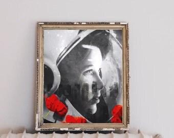 "Astronaut print art, space print art, surreal art print, portrait Anna Fisher, mixed media collage art, poppy art print - ""Cosmic Poppy""."