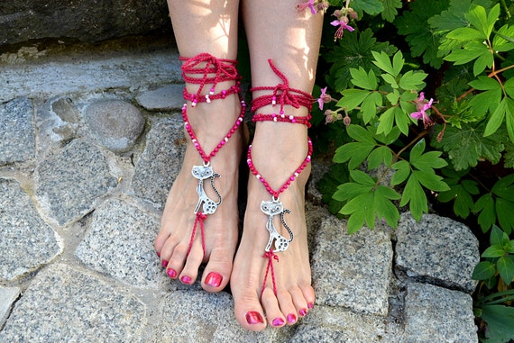 cat lady barefoot sandals
