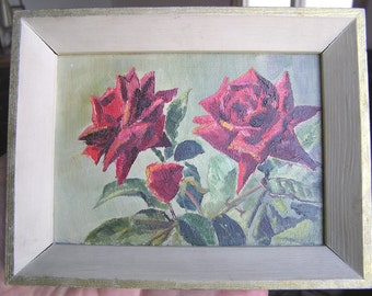 "Original Oil Painting ""Roses"" by Muriel England F.R.S.A."
