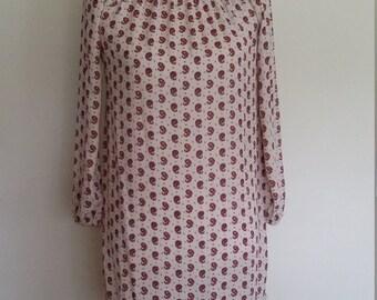 Paisley dress, XS, peasant dress, floral dress, paisley floral dress, paisley print dress, short peasant dress, summer dress