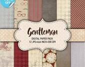 75 % OFF vente Digital paper pack «Gentleman» - feuilles de papier imprimable pack 6 x 6 pouces numérique fond papier scrapbook de 15 x 15 pour homme
