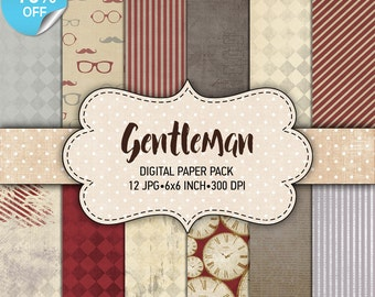 "75% OFF SALE Digital paper pack ""Gentleman"" - Printable paper pack sheets 6x6 inch Digital Background Paper 15x15 scrapbook paper for man"