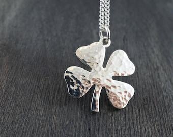 Four Leaf Clover Necklace, Shamrock Necklace, Sterling Silver Four Leaf Clover Necklace, Handcrafted Four Leaf Clover Necklace, Shamrock