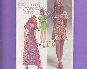Gathered Waist, Flutter Sleeve, Mini Dress/ 1970s Simplicity 9725 Womens Scoop Neck, Gathered Waist, Evening Dress Sewing Pattern/ Size 10