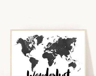 Wanderlust Print, World Map, Wanderlust, Printable Art, Travel Quote, Black World Map, Map Poster,  digital Download,  Wall Art