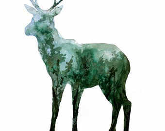Deer Fine Art Print from Original Watercolor Painting