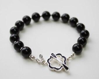 Black Onyx bracelet, black onyx beaded bracelet, gemstone beaded bracelet, Boho bead bracelet, sterling silver bead bracelet, semi precious