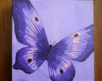 Unique Purple Butterfly Painting on 6x6 Canvas