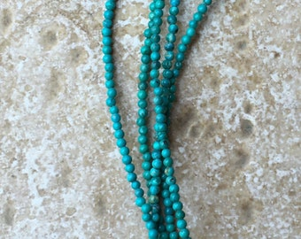 "Genuine Natural Turquoise Round Beads - Not Treated - FULL 16"" strand of teeny tiny 2mm accent beads, about (211) beads - G156"