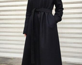 Black Maxi Cashmere Coat / Oversize Cape Coat / Unique Black High Collar Jacket / EXPRESS SHIPPING / LA 3020