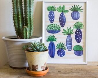 Watercolor Plants Print, Botanical Illustration, Green Plants Print, Watercolour Plant Poster, Plant Art