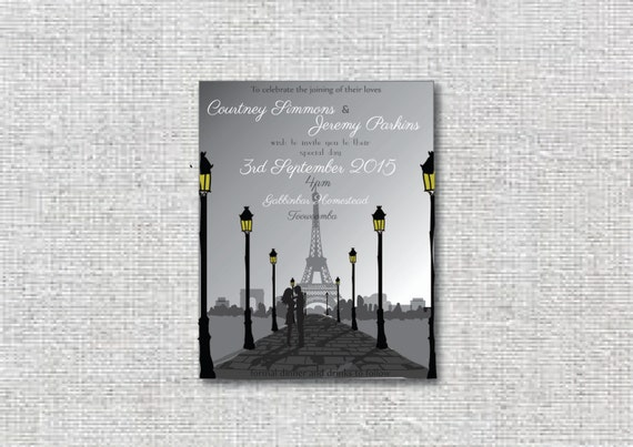 Paris Wedding invitation package that can is DIY printable