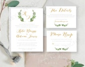 Personalised Printable Wedding Invitation Set; Invite, RSVP, Details Card, Kate Collection - WCA91