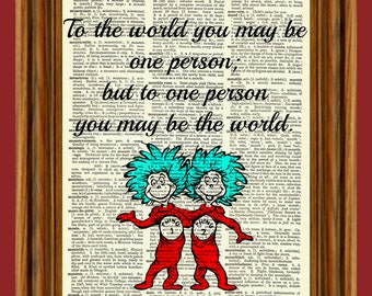Dr. Seuss (Thing 1 and Thing 2) Upcycled Dictionary Art Print Poster