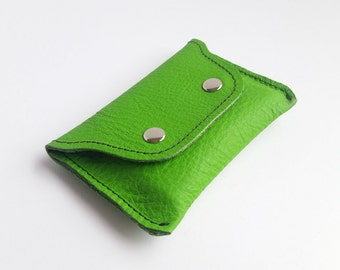 Small Wallet. Leather Wallet. Leather Card Holder. Green Leather.
