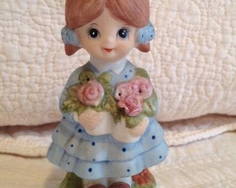 Little Girl Figurine, Vintage CMA Inc. 1980, Little Girl In Blue Dress Carrying Pink Roses, Bisque Porcelain Figurine, Vintage Knick Knack