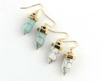 Turquoise and White Drop Earrings