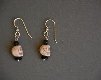 925 Silver BlackTourmaline Skulls & Glass Bead Earrings