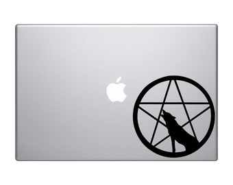 Howling Wolf MacBook decal, vinyl pentagram sticker, IPad Sticker gift idea Macbook Sticker, Laptop decal, removable wallpaper, Wiccan decal