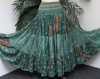 2 in 1 Full Circle, Artsy Silk Skirt Dress in Mix and Match Tone Boho, Hip Hop, Gypsie, Country, One Size.FREE SHIPPING