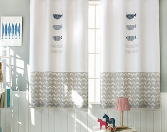 Fish Patterned  Curtains Grommet Kids Curtains 1Pair