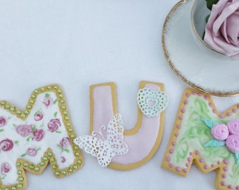 Fake MUM Cookies , wet icing detail, mothers day, birthday gifts